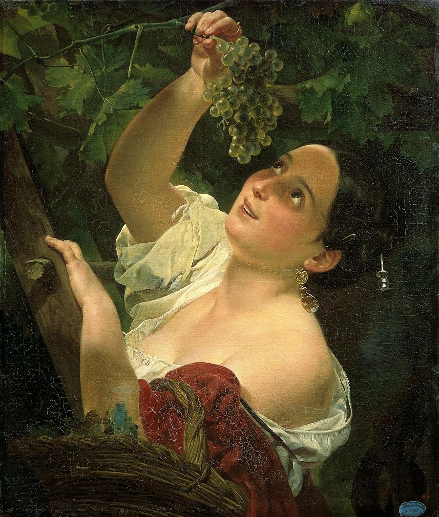 Итальянский полдень ( Итальянка, снимающая виноград ). Государственный Русский музей, С.-Петербург