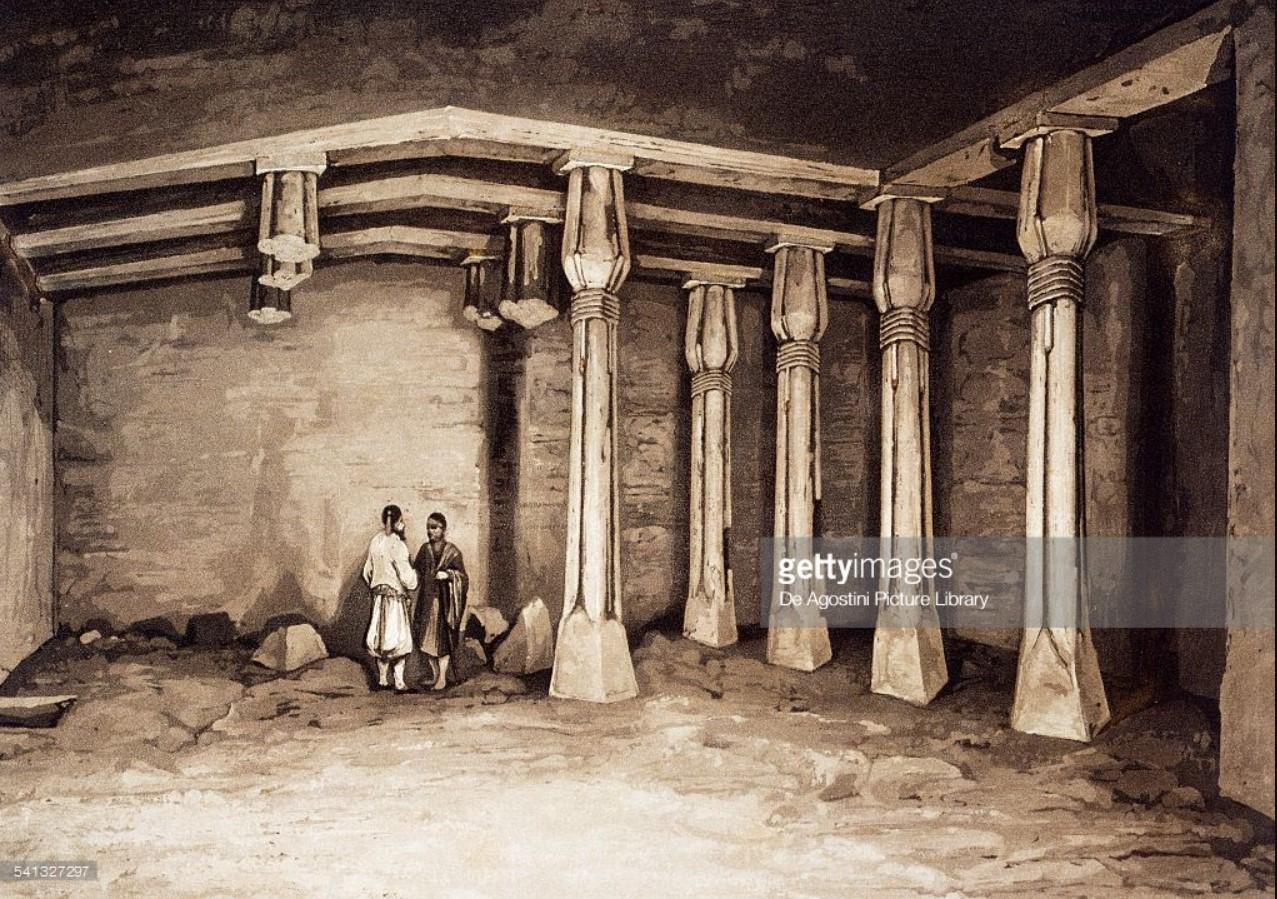 1841. Интерьер скальной гробницы в некрополе Бени-Хасан
