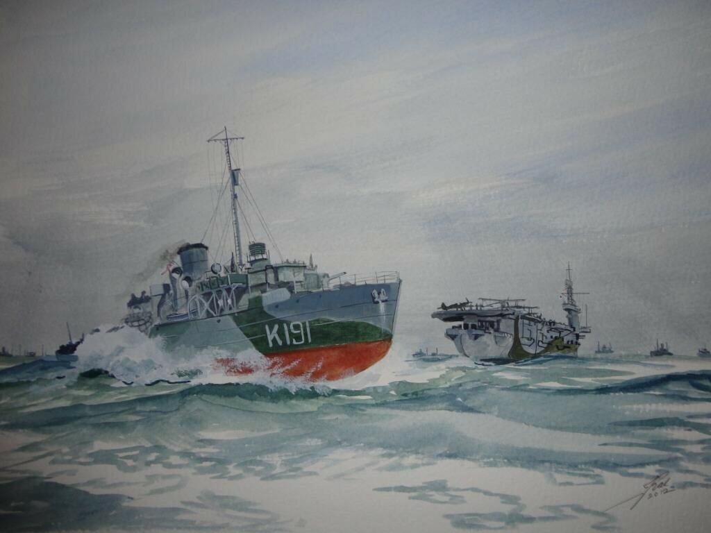 HMCS Mayflower passes astern of HMS Tracker.