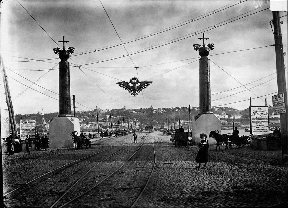 38. Вид на плашкоутный мост и нагорную часть Нижнего Новгорода. Негатив 18×24&nbsp