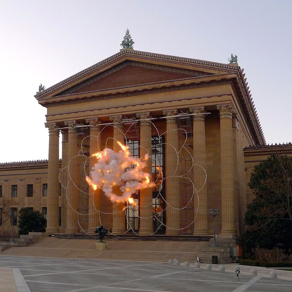 A Pyrotechnic Artwork by Cai Guo-Qiang Explodes into a Blossom on the Steps of the Philadelphia Museum of Art