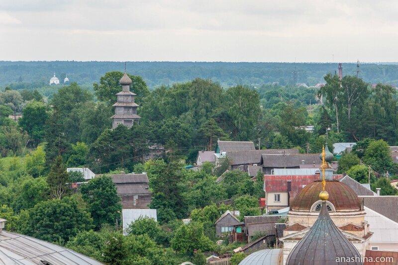 Панорама Торжка в сторону Старовознесенской (Тихвинской) церкви, Торжок