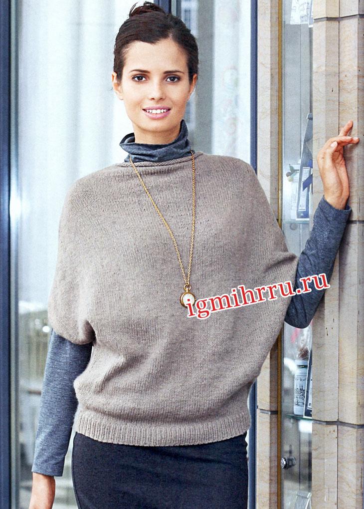 Бежевый пуловер из чистого кашемира. Вязание спицами