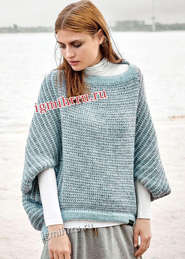 Свободный шерстяной пуловер-пончо. Вязание крючком