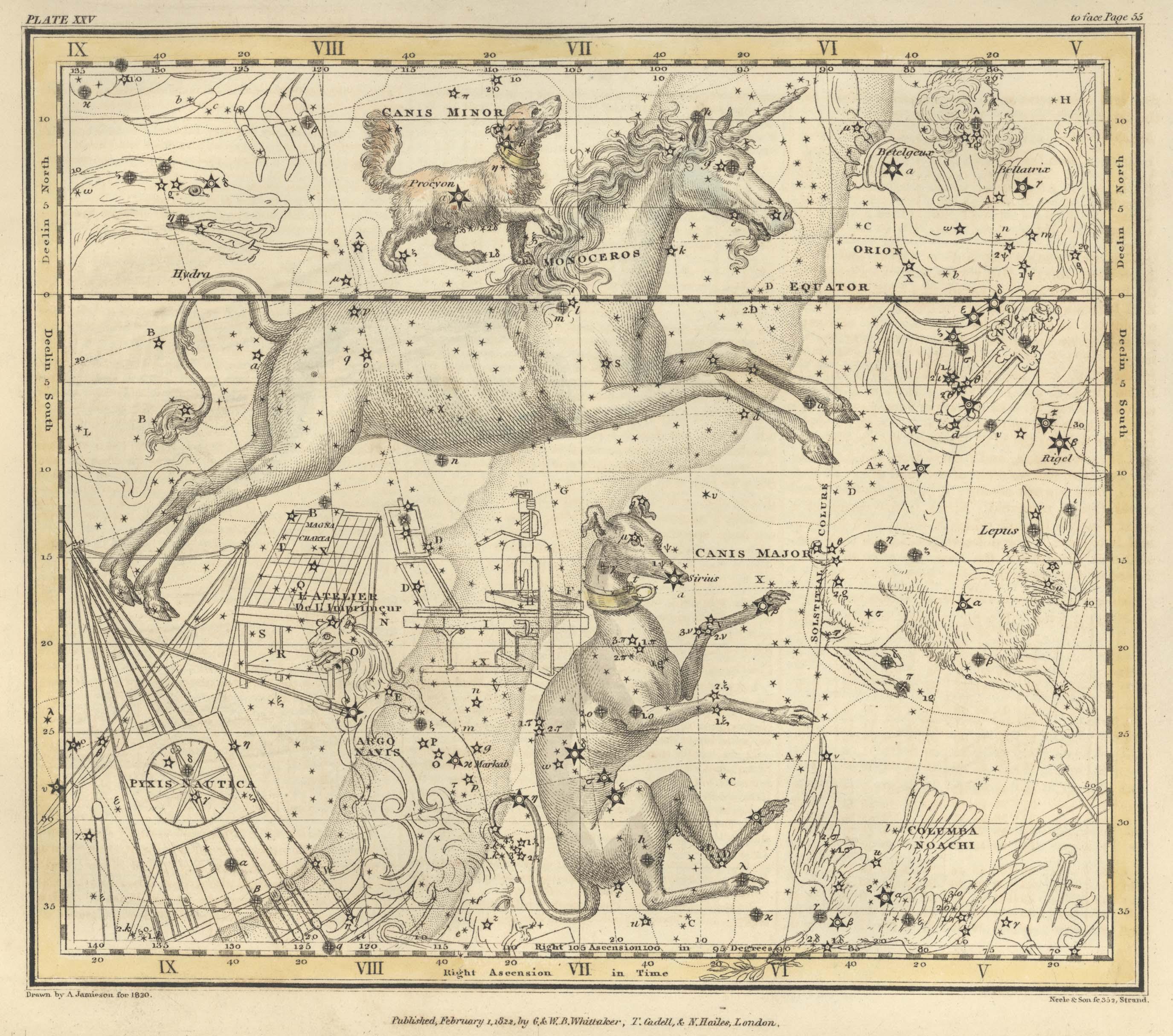 Страница №28: Единорог, Малый Пёс, Компас и Типографский Станок