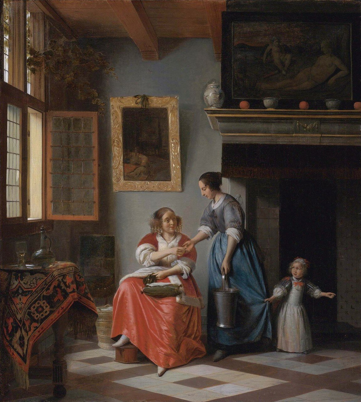 A woman handing a coin to a serving woman with a child, by Pieter de Hooch