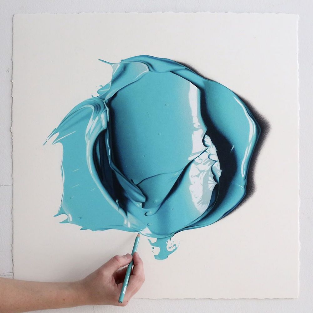 Giant Dabs of Thick Oil Paint Captured as Hyperrealist Colored Pencil Drawings