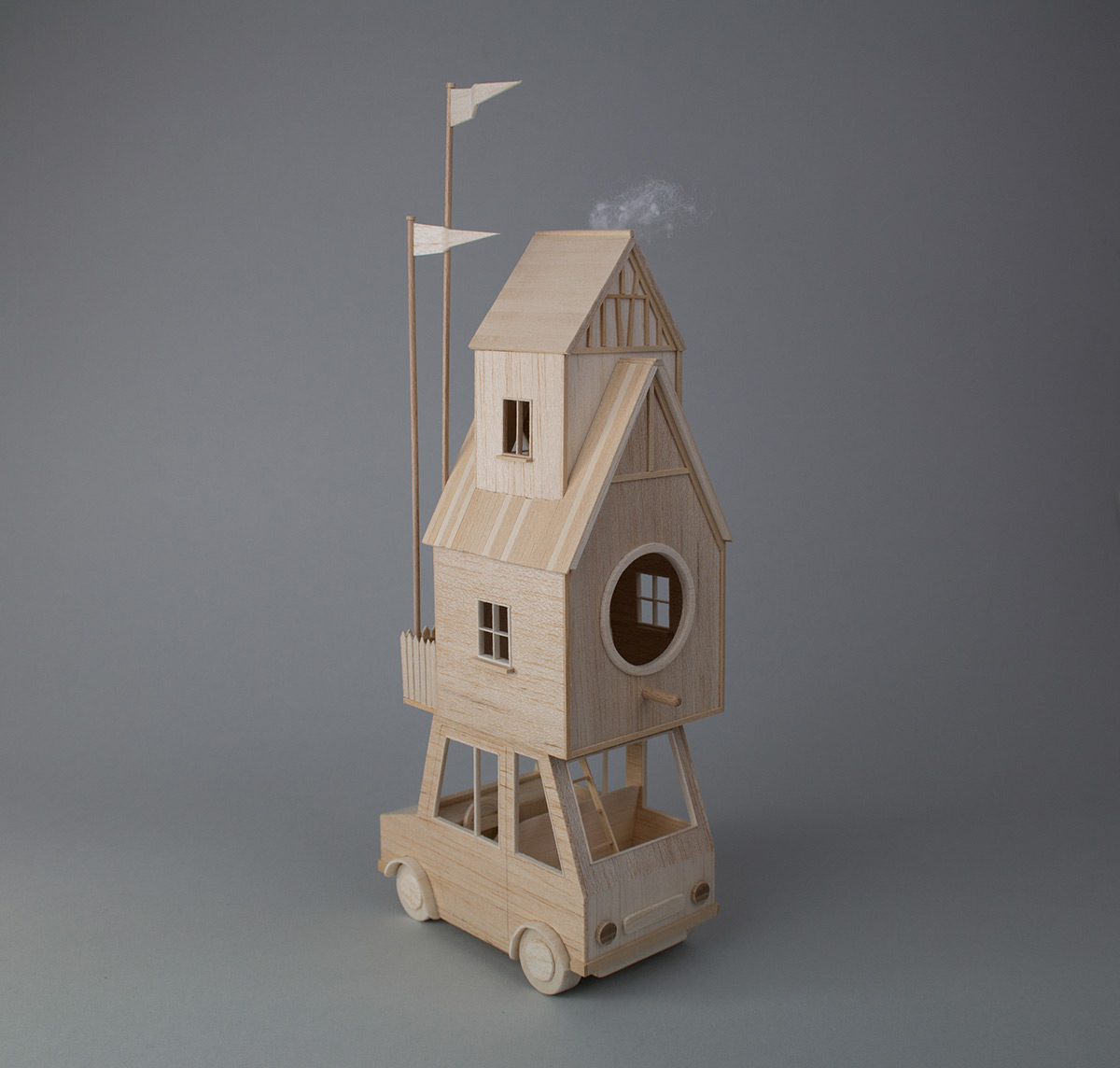 New Miniature Mobile Homes Created From Balsa Wood by Vera van Wolferen