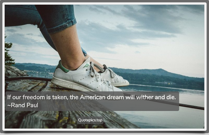 If our freedom is taken, the American dream will wither and die. ~Rand Paul