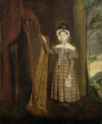 Unknown British Artist Portrait of a Young Girl in Welsh Costume with a Harp (thought to be Augusta Charlotte Elizabeth Hall, d.1912, daughter of Lady Llanover). 1836 г. University of Cambridge