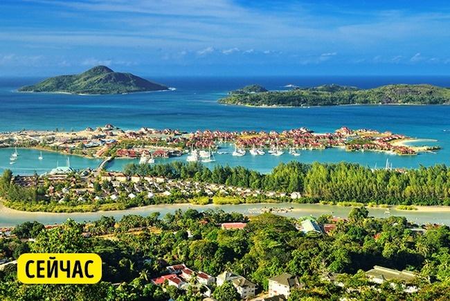 © depositphotos  Постепенно вода затопляет пляжи наСейшелах. Изменение климата иповышение ур