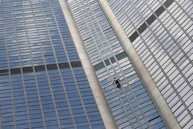 French Spiderman Climbs Tower for Nepal