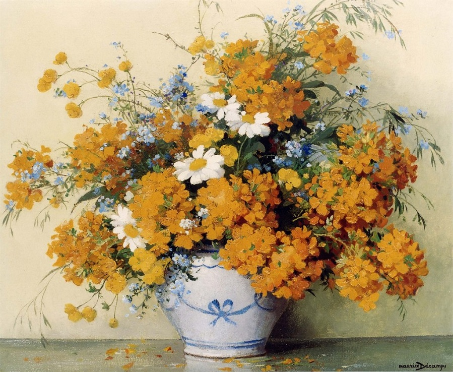 Buttercups, daisies and other summer flowers in a vase