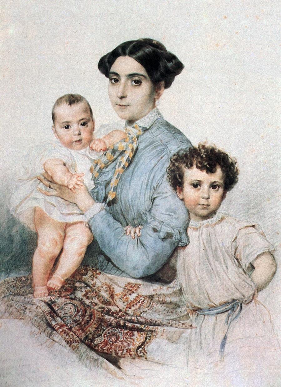 Портрет Терезы-Микеле Титтони с сыновьями.