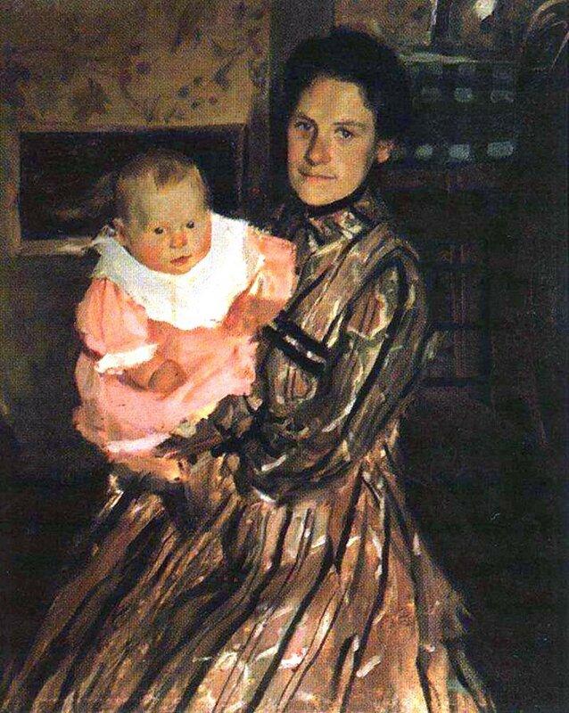Портрет Ю.Е.Кустодиевой с сыном, 1903 год