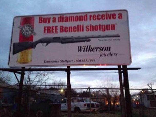 «Купи бриллиант, получи дробовик Benelli в подарок».