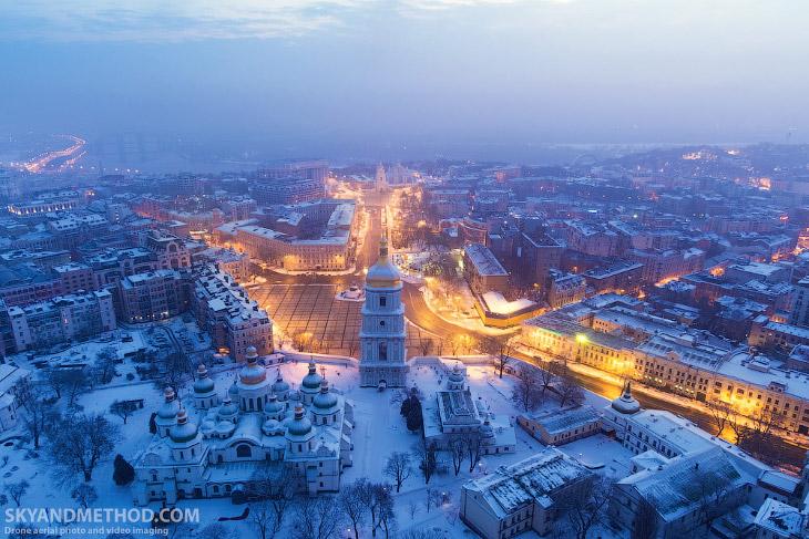зима Киев красиво дрон красивые высота с высота