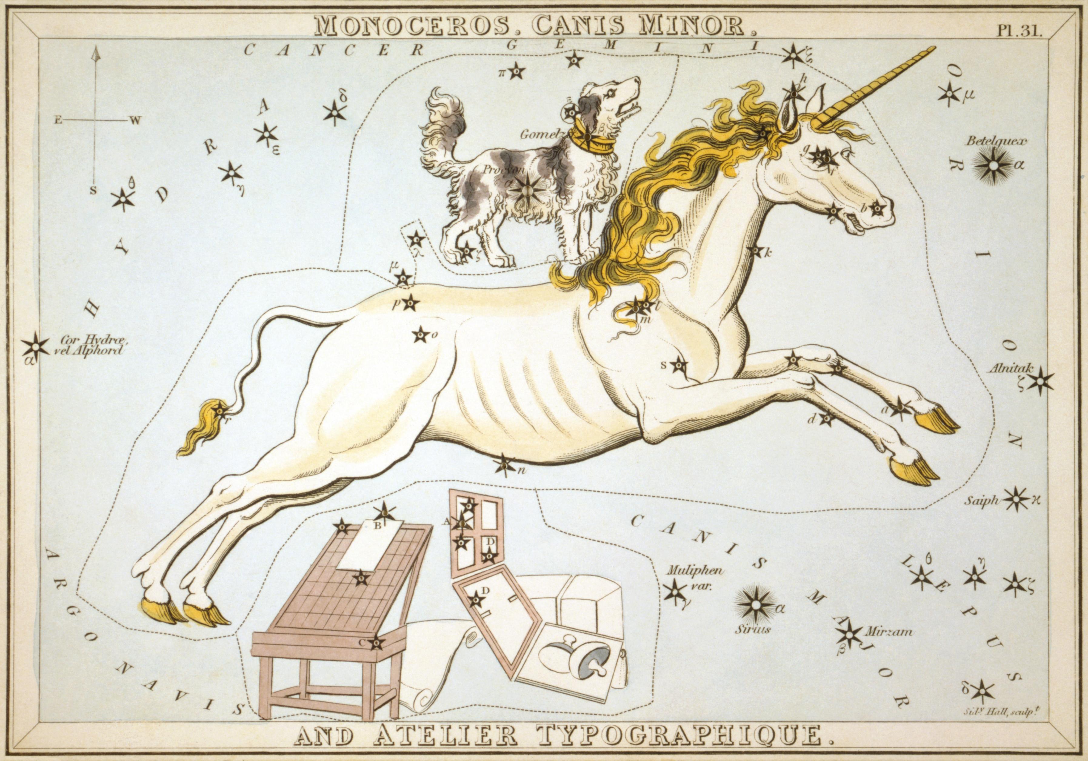 Карточка №31: Единорог, Малый Пёс и Типографский Станок