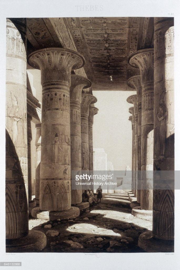 1841. Гипостильные колонны в Рамессеуме