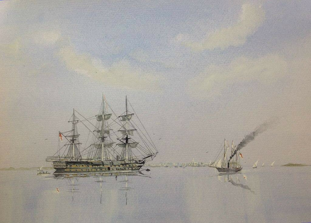 HMS London serving as base ship at Zanzibar on operations to suppress the slave trade in the 1860's.