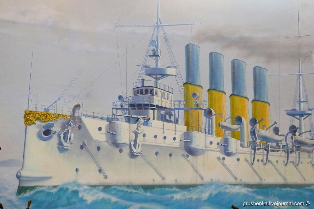 Там, среди Желтого моря, вьется Андреевский стяг, бьется с неравною силой гордый красавец «Варяг»