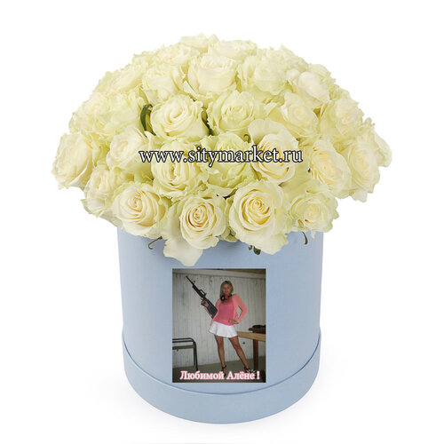 Цветы в шляпных коробках, люльках, с вашим фото или логотипом за 30 минут