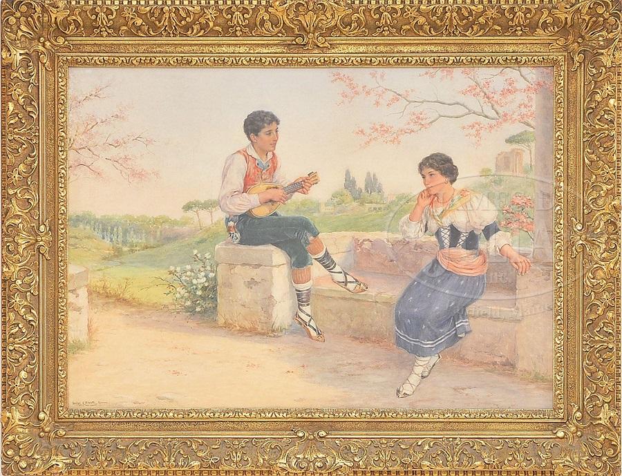 SERENADING A GIRL AT THE VILLA ADRIANA
