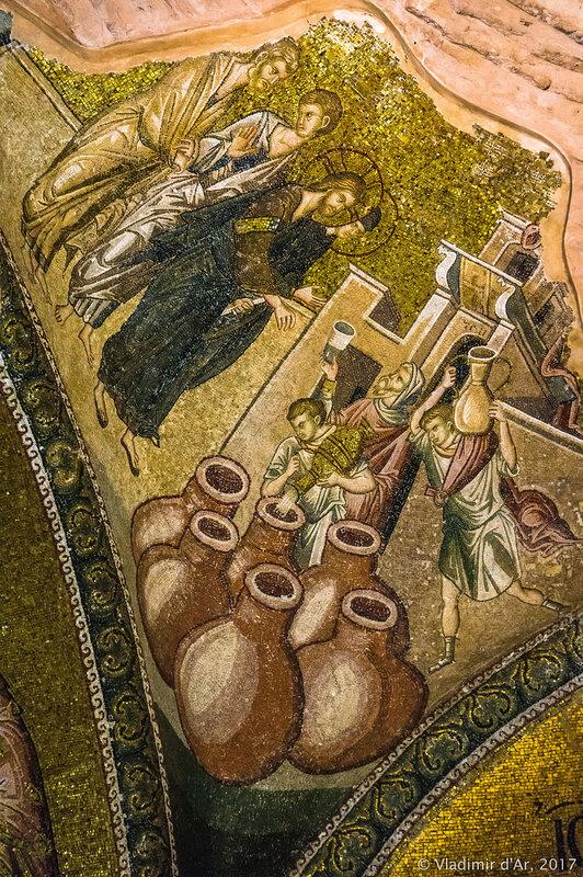 Чудо в Кане Галилейской. Мозаики и фрески монастыря Хора. Церковь Христа Спасителя в Полях.