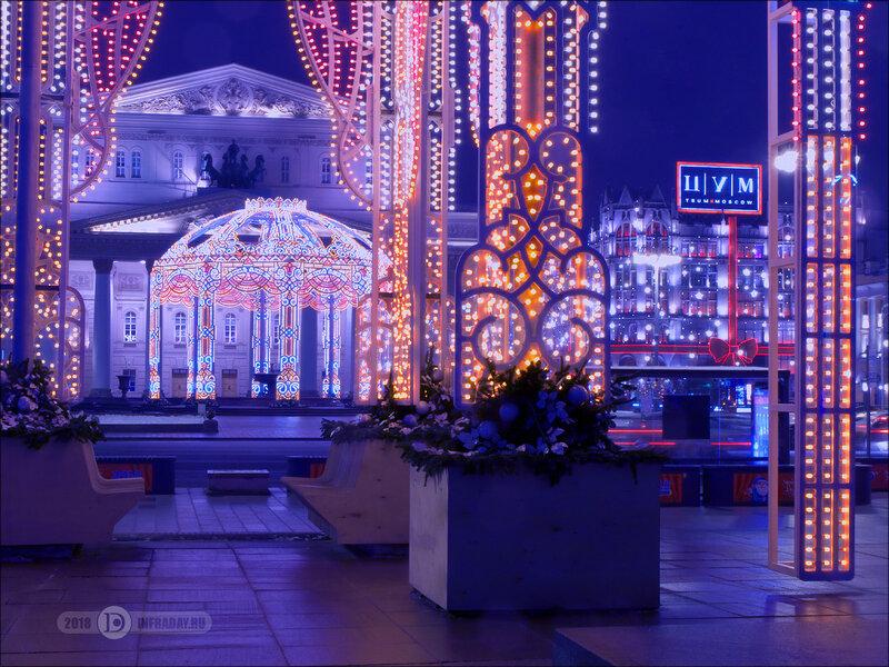 Ночной город Москва, штатив, выдержка 8 секунд. Night city Moscow, tripod, exposure 8 sec.