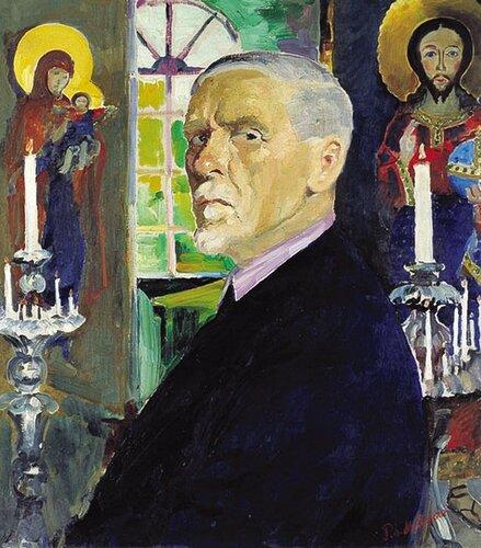 Автопортрет на фоне иконХолст, масло. 80 x 70 смЧастное собрание