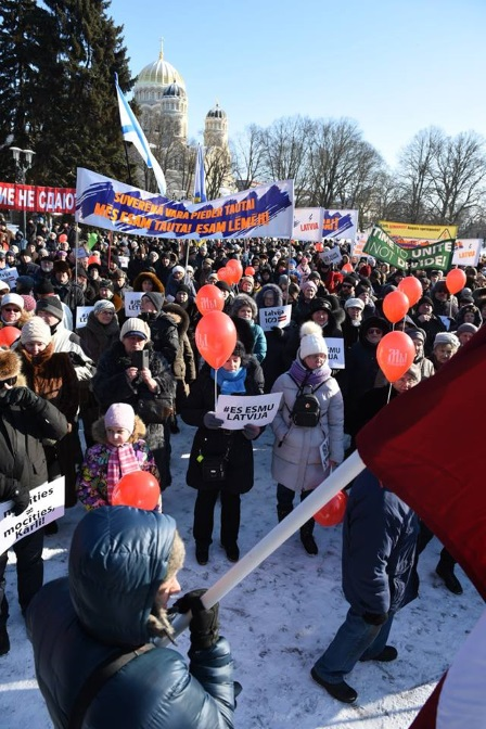 митинг в Риге 24 февраля 2017 против ликвидации русских школ