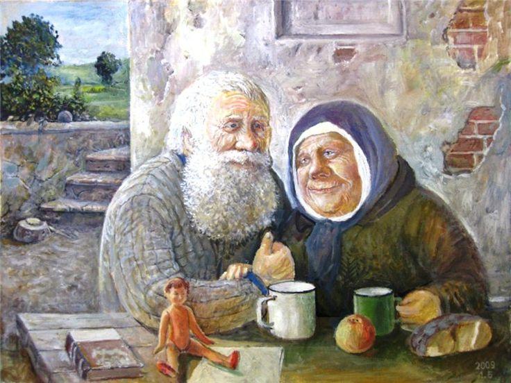 Открытка. С Днем пожилого человека! Пожилые за столом! открытки фото рисунки картинки поздравления
