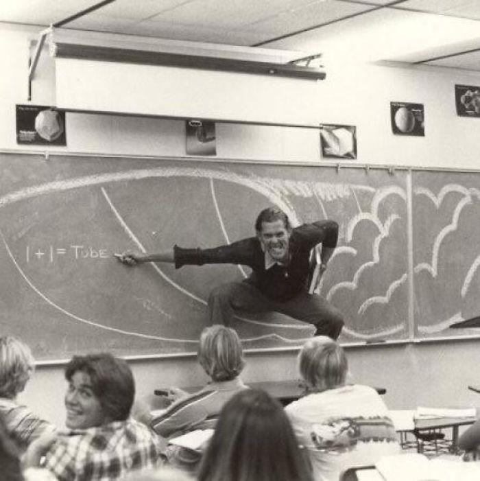 «Отец преподает математику в Южной Калифорнии, конец 70-х».