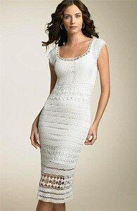 Белое платья крючком фото