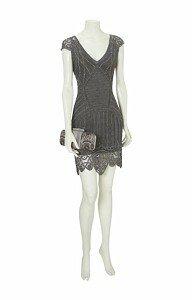 Металл и кружево в платье от Karen Millen