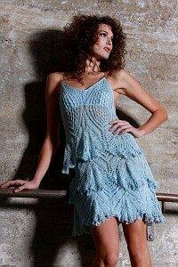 Голубая гортензия - платье спицами от GOGA by Gordana