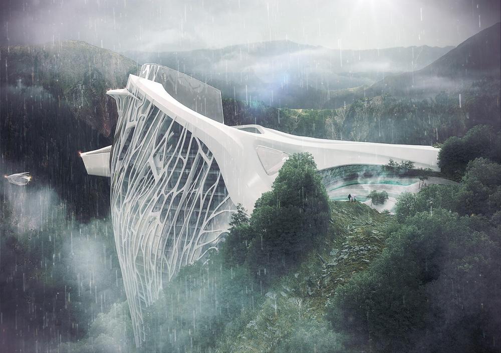 Архитектор разработал проект отеля вАльпах. Иэто просто фантастика (7 фото)