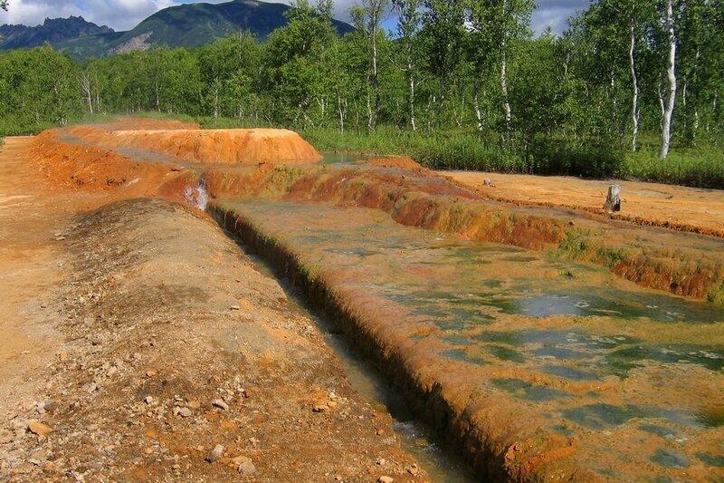 Травертины в Налычево, Камчатка