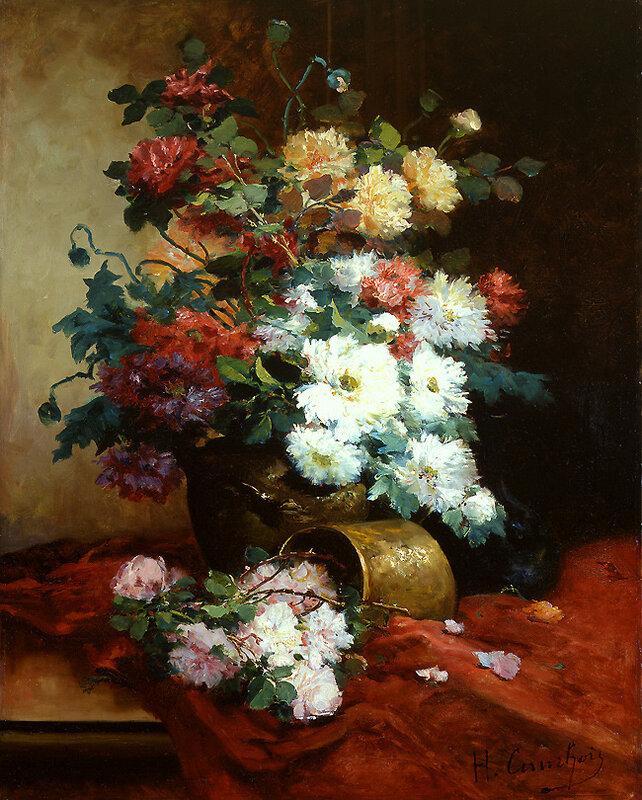 Roses and Dahlias. Eugene Henri Cauchois (1850-1911)