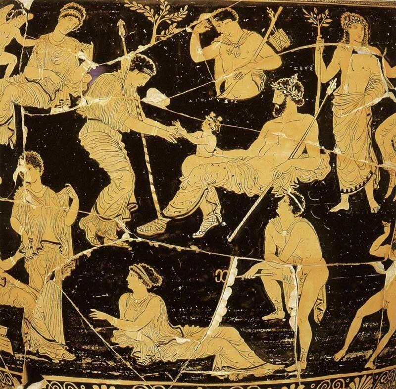 Рождение Диониса из бедра Зевса  Античная керамика Протоапулианский спиралевидный кратер, конец V - начало IV в. до н.э. Таранто (Италия), Национальный музей