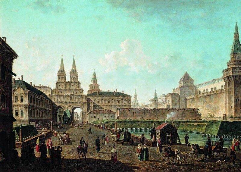 Вид на Воскресенские и Никольские ворота и Неглинный мост от Тверской улицы в Москве. 1811