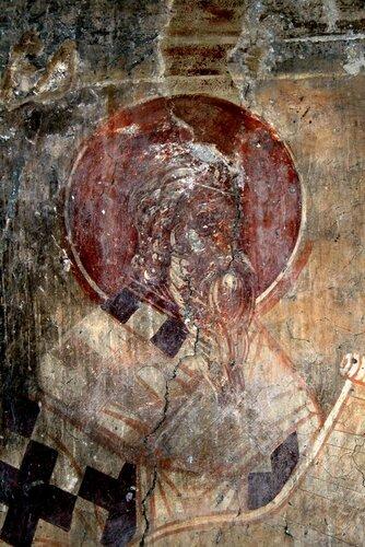 Святитель Амфилохий, Епископ Иконийский. Фреска церкви Введения во храм в Липляне, Косово, Сербия. Около 1376 года.