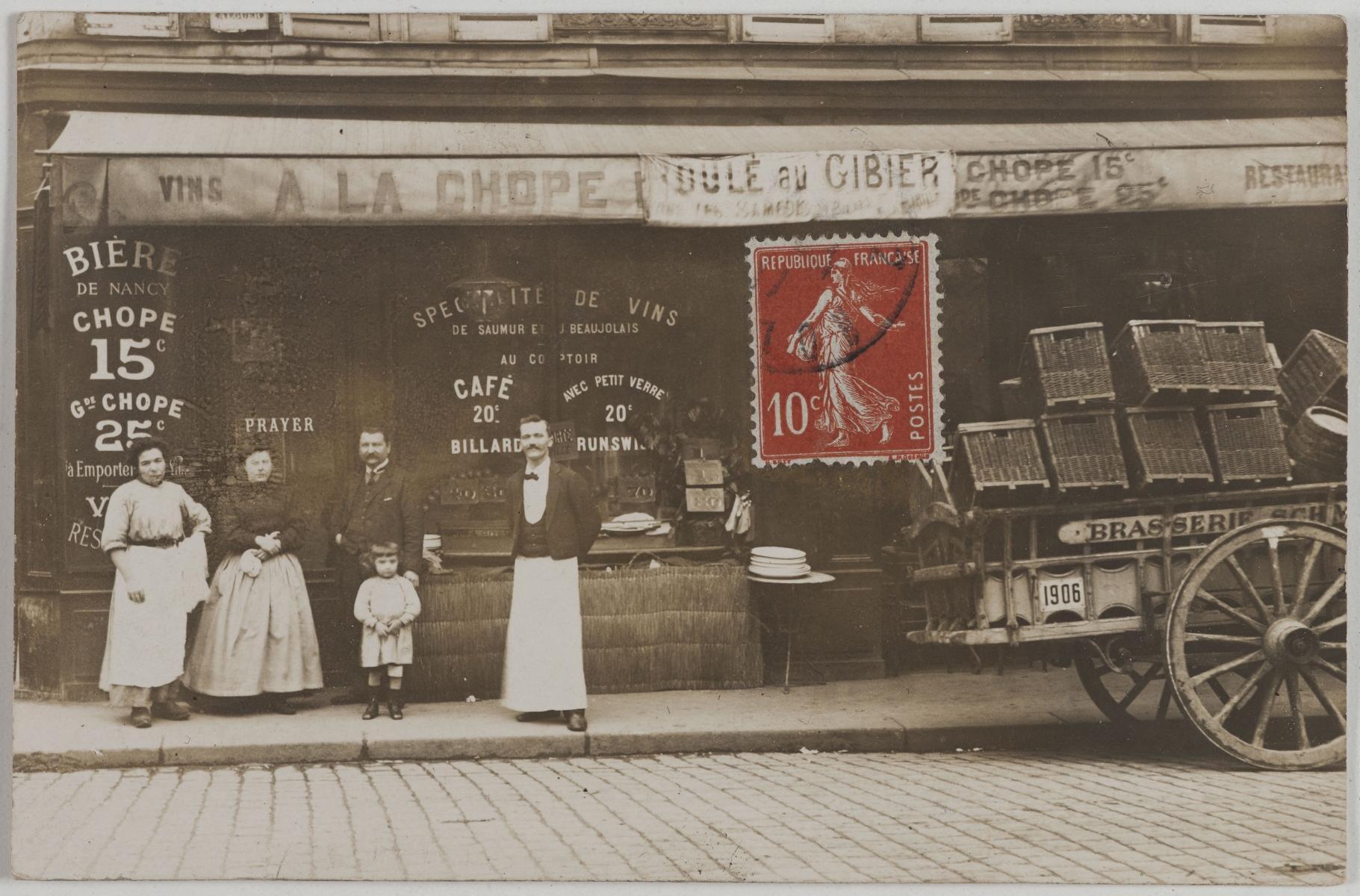 1911. Ресторан. 74, rue de Rochechouart и 79, rue de Dunkerque (9-й округ). Сейчас на этом месте магазин багажа