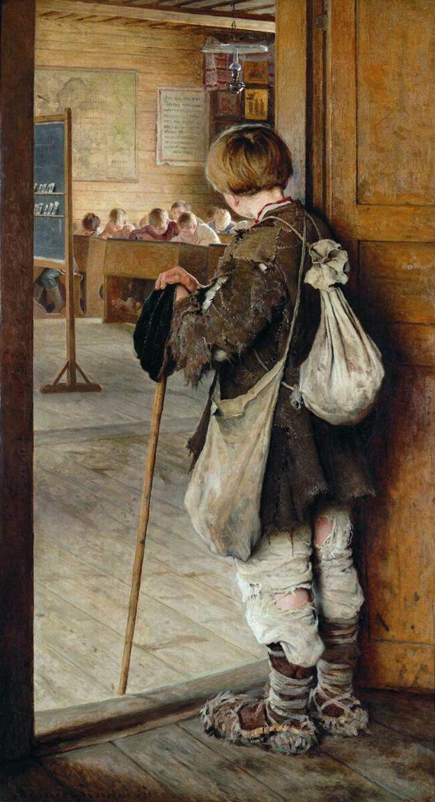 У дверей школы 1897 Богданов-Бельский Николай Петрович (1868-1945)