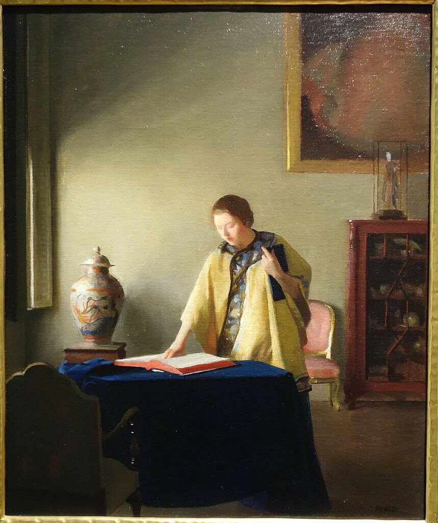 Woman_with_Book_by_William_McGregor_Paxton,_c._1910,_oil_on_canvas_on_board_-_New_Britain_Museum_of_American_Art_-_DSC09470.JPG