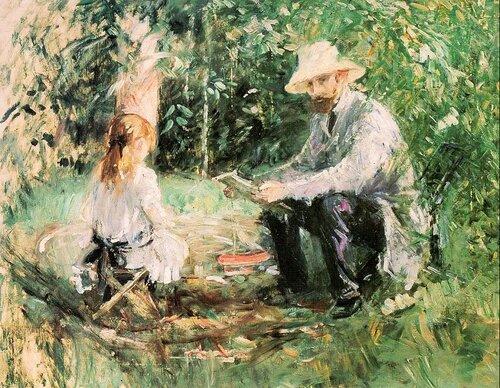 Эжен Мане с дочерью в саду 1883, 60×73 см  Масло, Холст