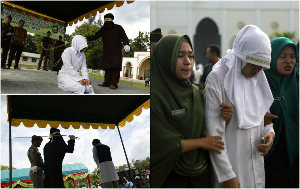 10 человек публично выпороли в Индонезийской провинции Ачех