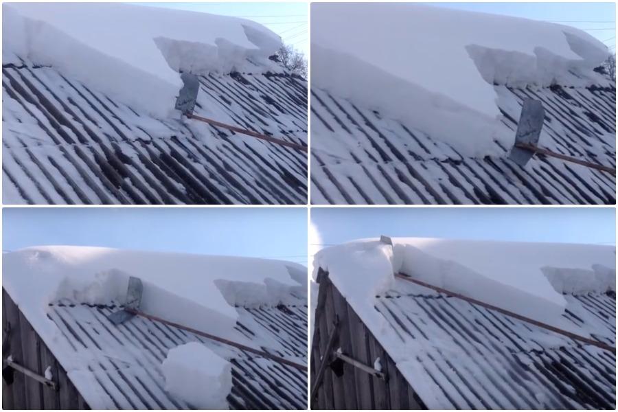 Приспособление для уборки снега с крыши дачного домика своими руками - есть опасность, что острый край повредит крышу