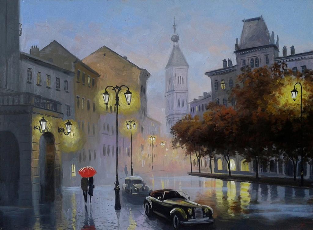 Александр Болотов-Вечерний туман в старом городе..jpg