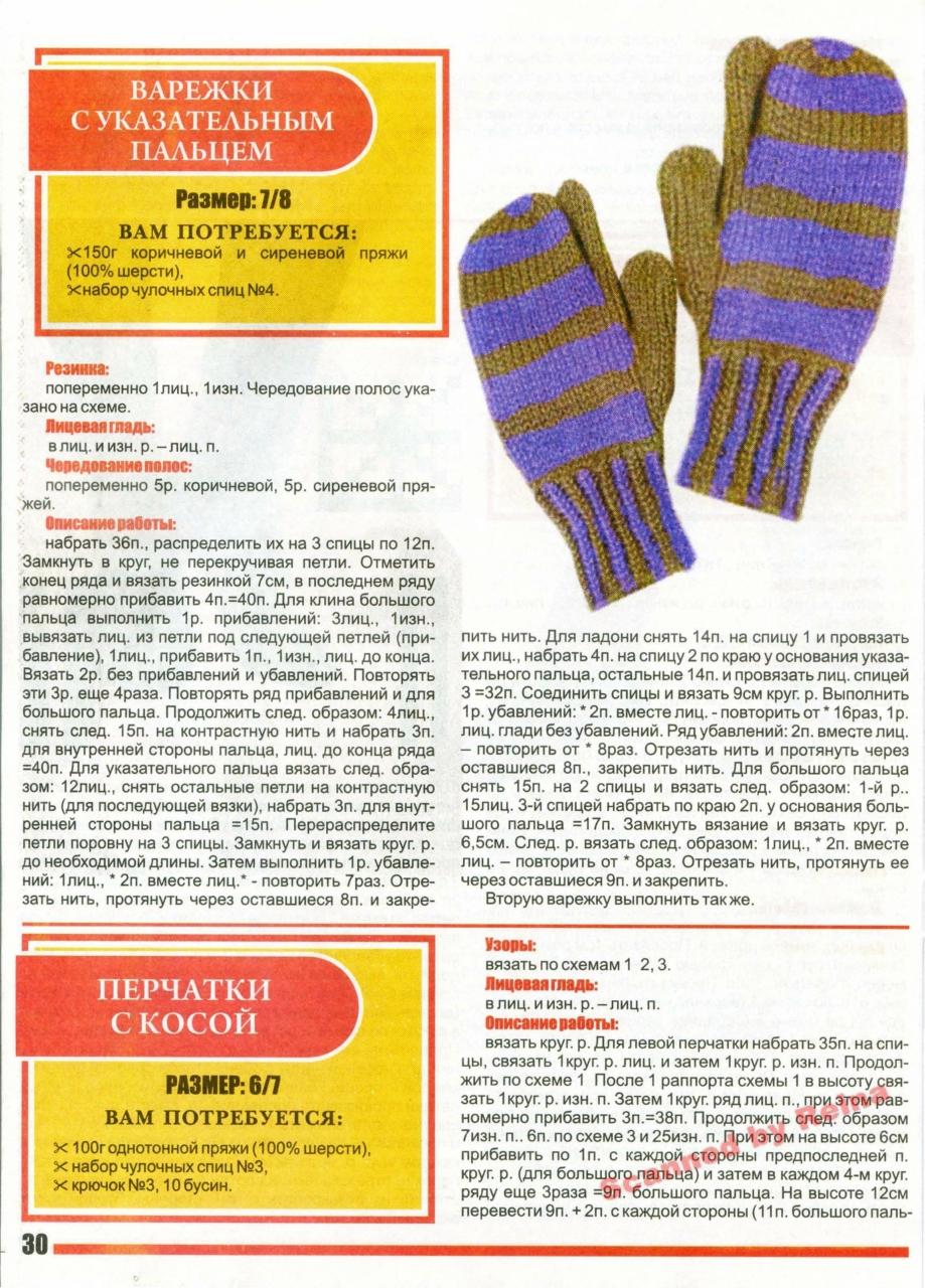 Вязание спицами варежки большого пальца 96